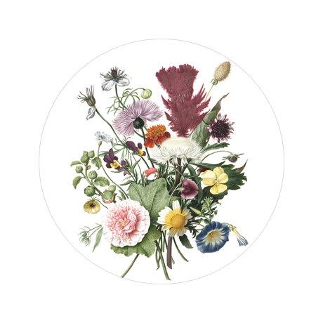 KEK Amsterdam Papier peint cercle Petits papiers peints de fleurs sauvages multicolores Ø142.5cm