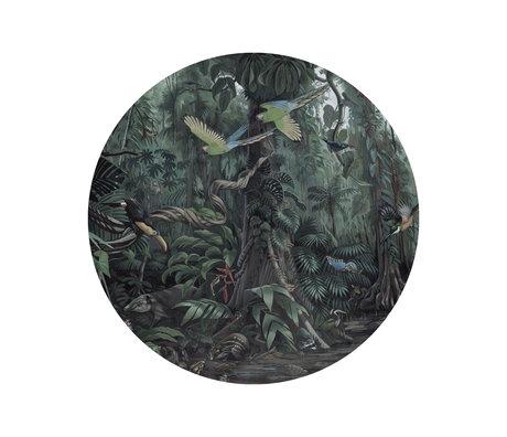 KEK Amsterdam Papier peint cercle Petit papier peint non tissé paysages tropicaux Ø142.5 cm