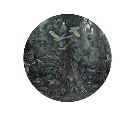 KEK Amsterdam Papier peint cercle Petits paysages tropicaux papier peint intissé vert Ø142,5cm