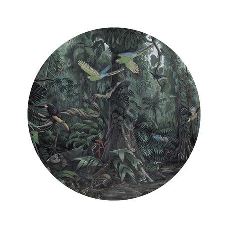 KEK Amsterdam Behang cirkel Small Tropical landscapes groen vliesbehang Ø142,5cm