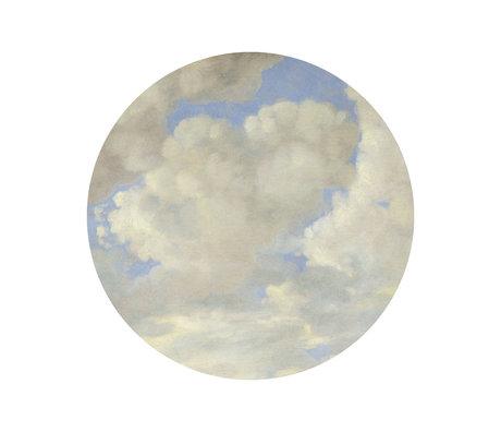 KEK Amsterdam Papier peint cercle Petits nuages de l'âge d'or papier peint intissé bleu et blanc Ø142,5 cm