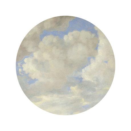 KEK Amsterdam Papier peint cercle Petits papiers peints non tissés bleu et blanc de l'âge d'or Ø142.5 cm