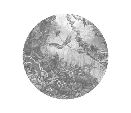 KEK Amsterdam Wallpaper circle Small Tropical landscapes black and white non-woven wallpaper Ø142.5 cm