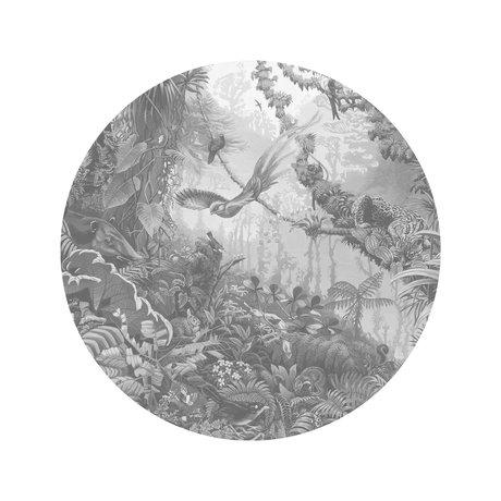 KEK Amsterdam Papier peint cercle Petits paysages tropicaux papier peint intissé noir et blanc Ø142,5cm