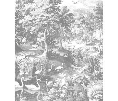 KEK Amsterdam Wallpaper panel XL Engraved landscapes black and white non-woven wallpaper 190x220cm