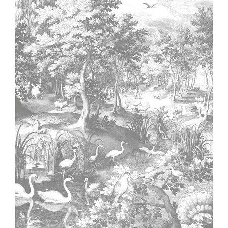 KEK Amsterdam Panneau papier peint XL Paysages gravés papier peint intissé noir et blanc 190x220cm