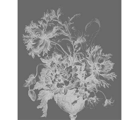 KEK Amsterdam Wallpaper panel XL Engraved flowers black and white non-woven wallpaper 190x220cm