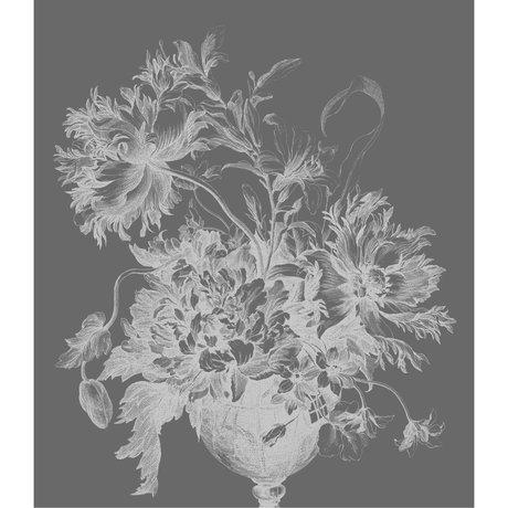 KEK Amsterdam Panneau papier peint XL Papier peint intissé non-tissé de fleurs noir et blanc 190x220cm