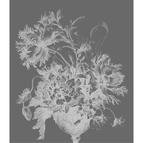 KEK Amsterdam Wallpaper panel XL Engraved flowers black and white non-woven wallpaper 190x220cm