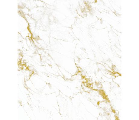 KEK Amsterdam Papier peint panneau XL Marbre or or blanc papier peint intissé 190x220cm