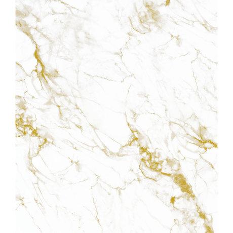 KEK Amsterdam Panneau de papier peint XL Marbre doré or blanc papier peint intissé 190x220cm
