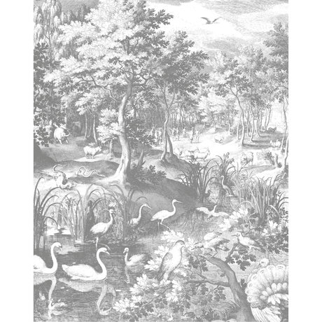 KEK Amsterdam Wallpaper panel Engraved landscapes black and white non-woven wallpaper 142.5x180cm