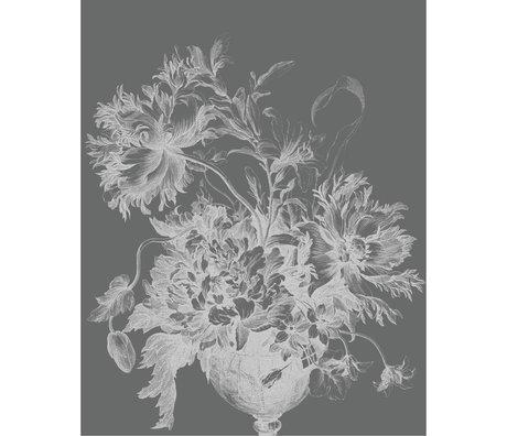 KEK Amsterdam Panneau de papier peint Papier peint intissé Fleurs gravées noir et blanc 142.5x180cm