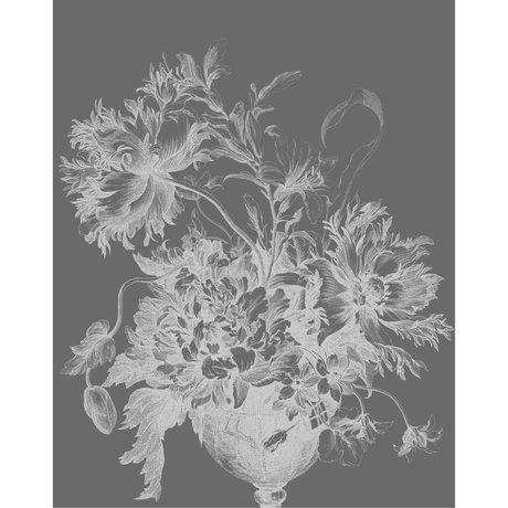 KEK Amsterdam Wallpaper panel Engraved flowers black and white non-woven wallpaper 142.5x180cm