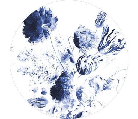 KEK Amsterdam Papier peint cercle XL Papier peint intissé bleu royal fleurs bleues et blanches Ø237,5 cm