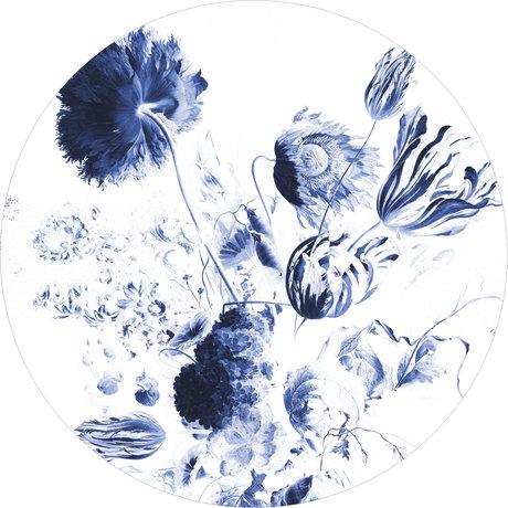 KEK Amsterdam Wallpaper circle XL Royal blue flowers blue and white non-woven wallpaper Ø237.5 cm