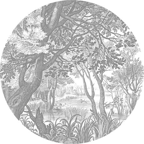 KEK Amsterdam Wallpaper circle Engraved black and white landscapes non-woven wallpaper Ø190cm