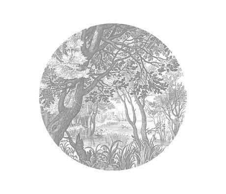 KEK Amsterdam Papier peint cercle Petits papiers peints non-tissés de paysages gravés en noir et blanc Ø142.5cm