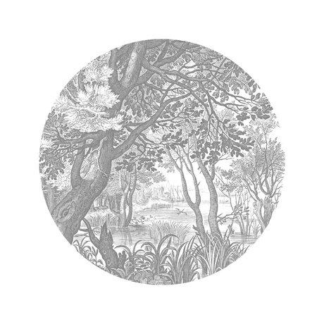 KEK Amsterdam Papier peint cercle Petits paysages gravés papier peint intissé noir et blanc Ø142.5cm