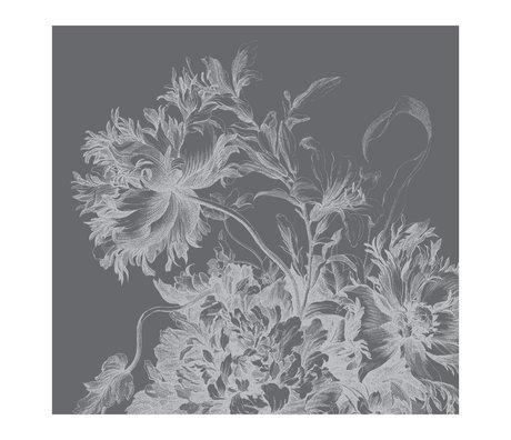 KEK Amsterdam Tapete Gravierte Blumen schwarz-weiß Vliestapete 292.2x280cm (6 Blatt)