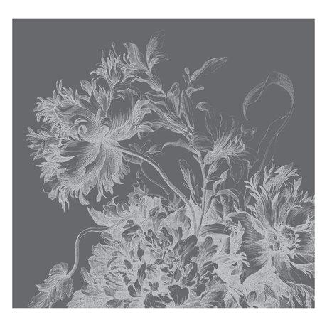 KEK Amsterdam Behang Engraved Flowers zwart wit vliesbehang 292,2x280cm (6 sheets)