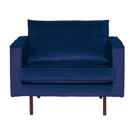 BePureHome Fauteuil Rodeo Nightshade  donker blauw fluweel velvet 105x86x85cm