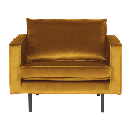 BePureHome Fauteuil velours velours ocre Rodeo 105x86x85cm