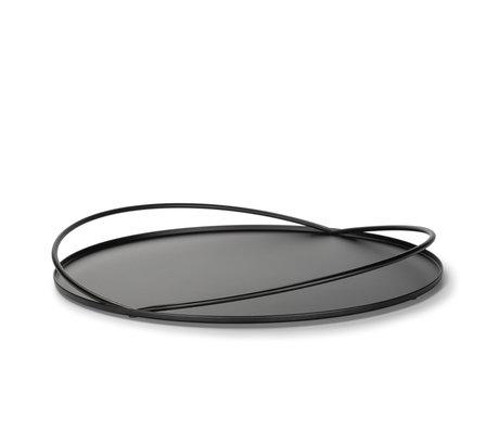 FÉST Plateau Loki en métal noir mat Ø40x4.2cm