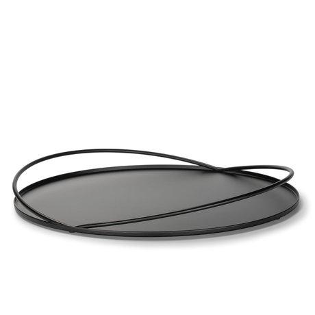 FÉST Loki Tablett mattschwarzes Metall Ø40x4,2cm