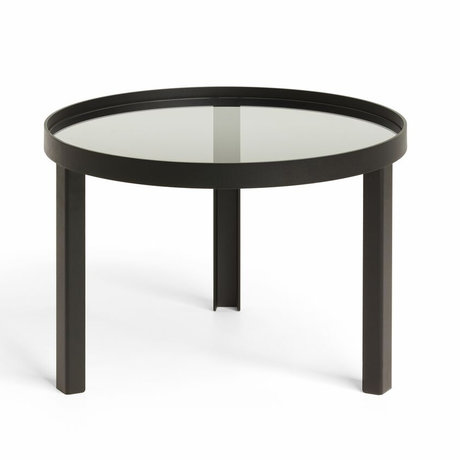 FÉST Coffee table Cedric Small black metal glass ø70x42cm