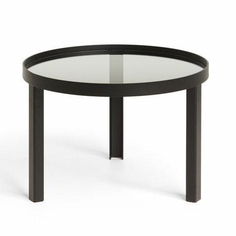 FÉST Table basse Cedric Petit verre métallique noir ø70x42cm