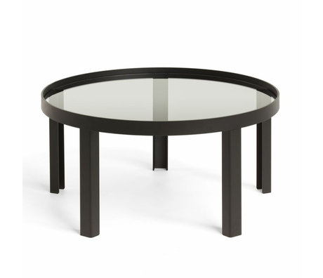 FÉST Coffee table Cedric Large black metal glass ø90x35cm
