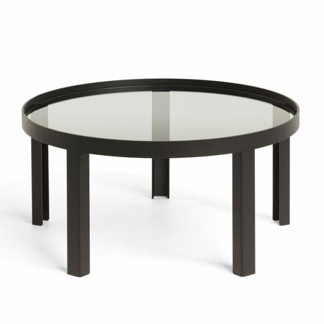 FÉST Koffietafel Cedric Large zwart metaal glas ø90x35cm