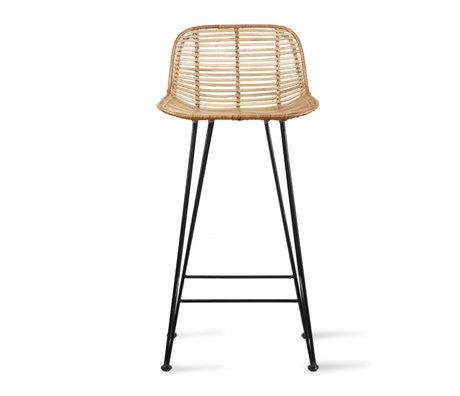 HK-living Bar stool rattan light natural 42x47x89cm