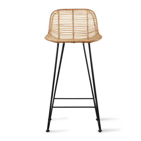 HK-living Tabouret en rotin naturel clair 42x47x89cm