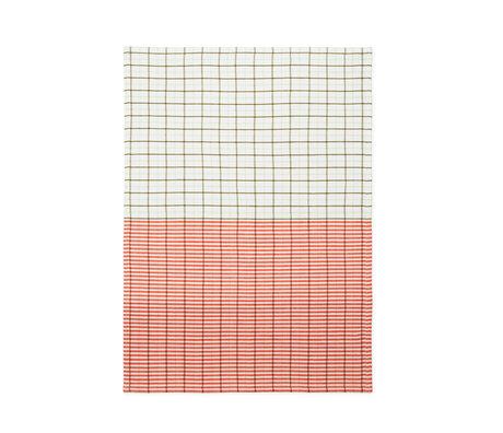 Normann Copenhagen Theedoek groen spicy oranje Stripe grid 50x70cm