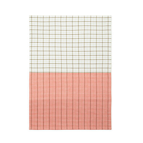 Normann Copenhagen Torchon vert épicé orange Stripe grid 50x70cm