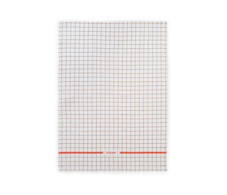 Normann Copenhagen Theedoek  Ren zand spicy oranje Grid 50x70cm