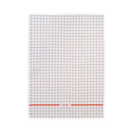 Normann Copenhagen Geschirrtuch Run Sand würzig Orange Grid 50x70cm