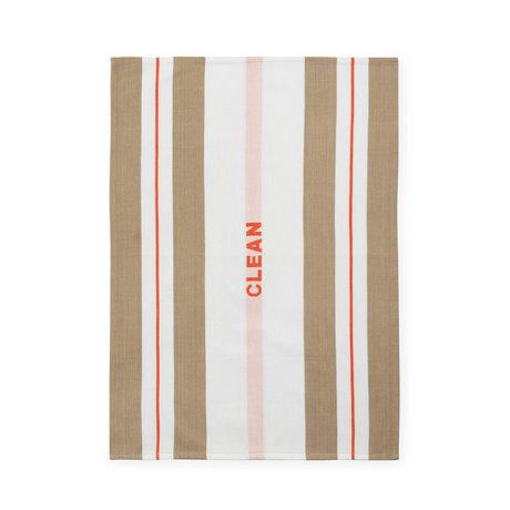 Normann Copenhagen Tea towel Run sand spicy orange stripe 50x70cm