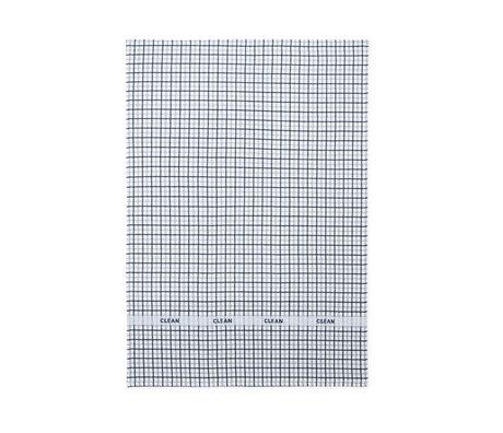 Normann Copenhagen Theedoek Ren donkerblauw grijs double grid 50x70cm