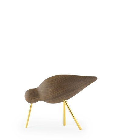 Normann Copenhagen Shorebird Medium Walnut brass goud 15x5,5x11cm