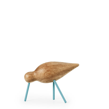 Normann Copenhagen Shorebird Medium Oak zee blauw hout 15x5,5x11cm