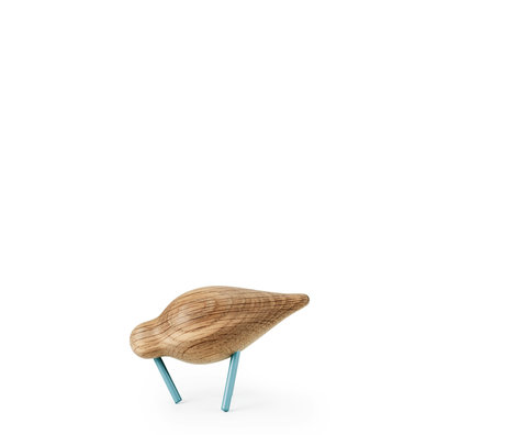 Normann Copenhagen Shorebird Small Oak zee blauw hout 11,5x4,5x7,5cm