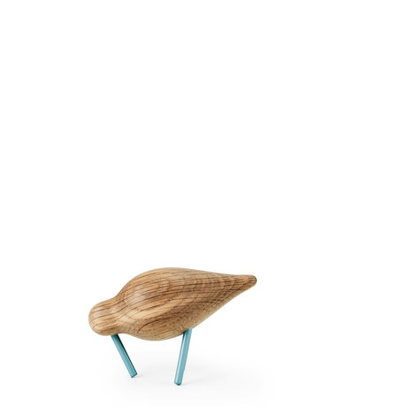 Normann Copenhagen Shorebird Small Oak sea blue wood 11.5x4.5x7.5 cm