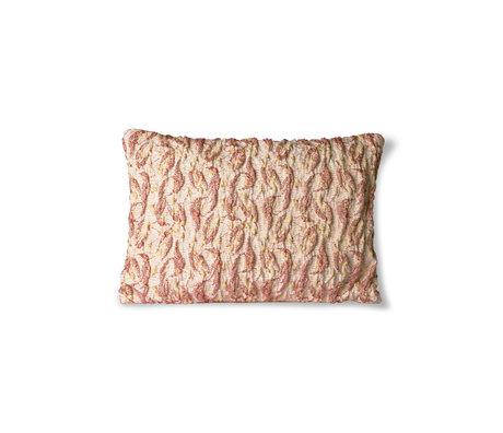 HK-living Cushion Floral Jacquard Weave bordeaux yellow cotton 40x30cm