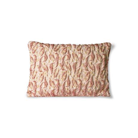 HK-living Kissen Floral Jacquard Weave bordeaux gelb Baumwolle 40x30cm