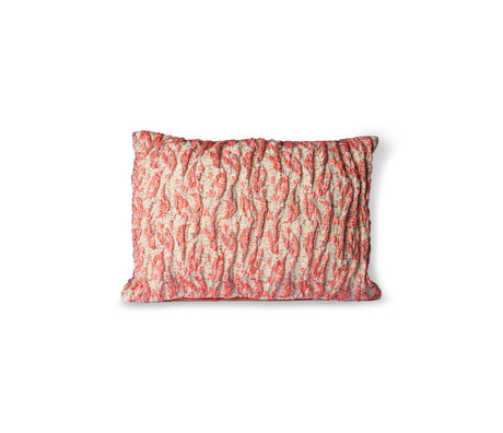 HK-living Cushion Floral Jacquard Weave red pink cotton 40x30cm