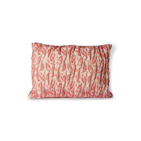HK-living Coussin Floral Jacquard Weave coton rose rouge 40x30cm