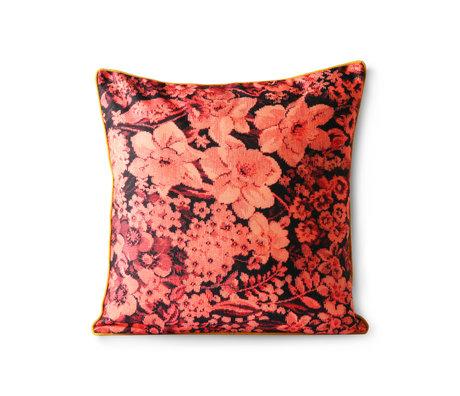 HK-living Kissen gedruckt Floral Koralle schwarz Polyester Baumwolle 50x50cm